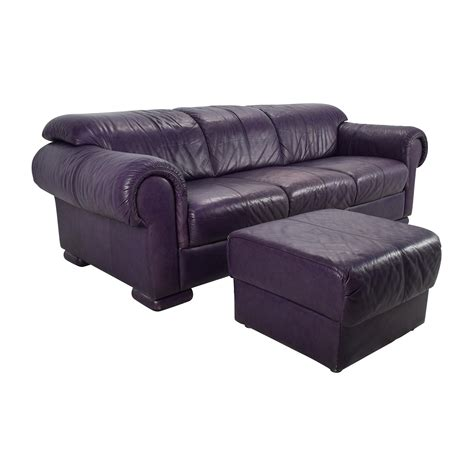 85% Off  Himolla Himolla Purple Leather Sofa With Ottoman