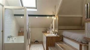 Chambre Sous Les Combles : salle de bain sous pente de toit excellent with salle de bain sous pente de toit awesome idee ~ Melissatoandfro.com Idées de Décoration
