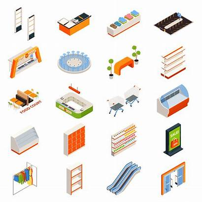 Vector Objects Furniture Hypermarket Clipart Supermarket Isometric