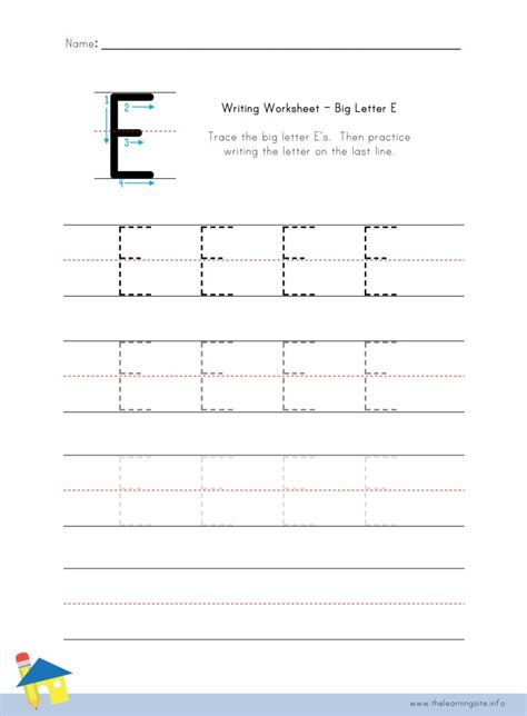 letter e worksheets the learning site 11191