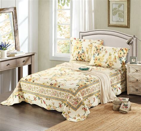 Floral Bedspreads by New Tache 3 Pc Floral Reversible Yellow Summer Roses