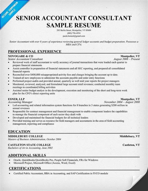 20560 accounting resumes exles senior accountant consultant resume sles across all