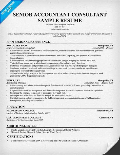 21523 exle of accountant resume senior accountant consultant 1 resume sles across all