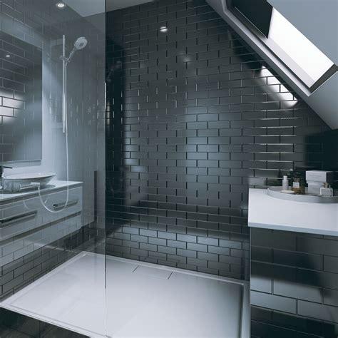 multipanel tile panel black gloss brick effect vertical