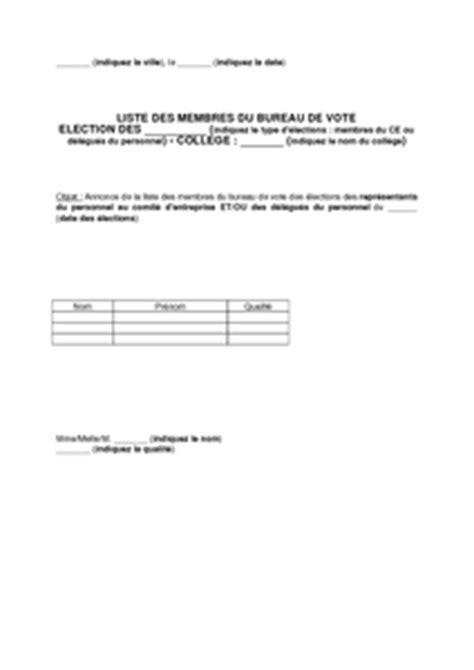 bureau de vote election dp modèle de lettre de communication de la liste des membres