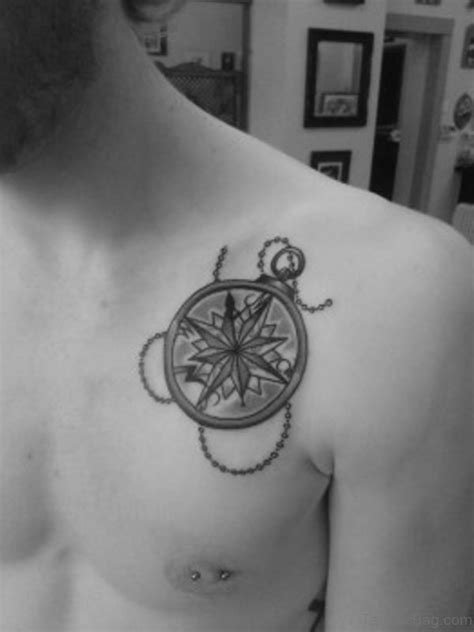 attractive compass tattoo design  chest