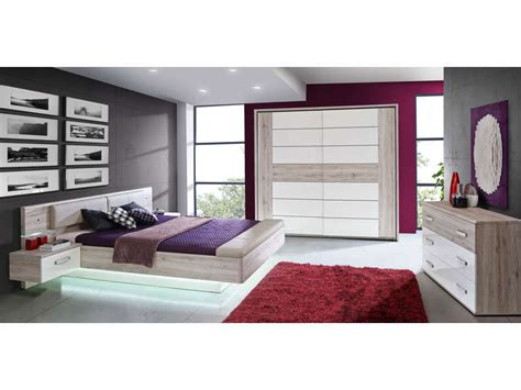 meuble de chambre conforama lit adulte 140x190 cm 2 chevets suspendus led dolce