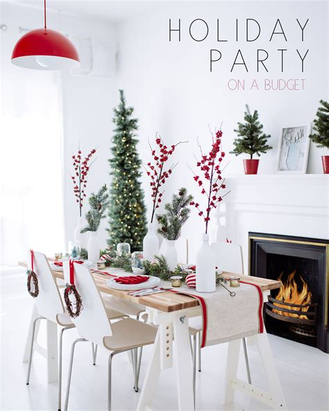 holiday party decor red white wreaths bright bazaar