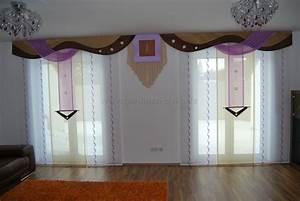 Bogen Gardinen Wohnzimmer : wohnzimmer schiebevorhang in lila beige mit braunen bogen schabracken ~ Eleganceandgraceweddings.com Haus und Dekorationen