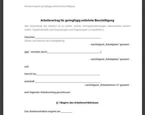 minijob arbeitsvertrag vorlage  freewarede