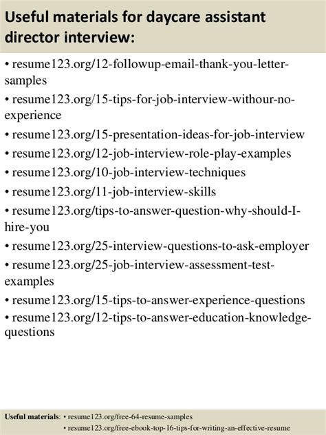 top 8 daycare assistant director resume sles