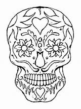 Skull Coloring Pages Sugar Printable Skulls Candy Sheet Dead Colouring Adult Adults Scary Designs Creepy Books Detailed Wings sketch template