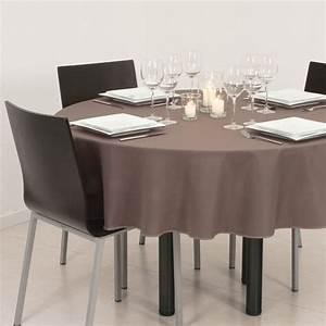 Nappe De Table Ronde : nappe ronde d180 cm lina taupe nappe de table eminza ~ Teatrodelosmanantiales.com Idées de Décoration
