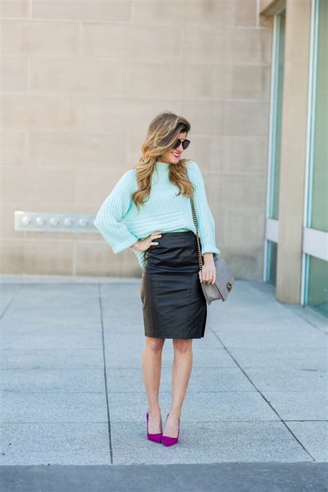 black leather pencil skirt outfit   style