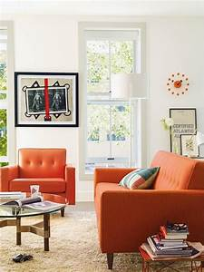 Living room with an orange sofa Daily Dream Decor