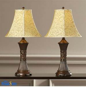 Table, Lamp, Set, 2, Vintage, Traditional, Lamps, Pair, Shade