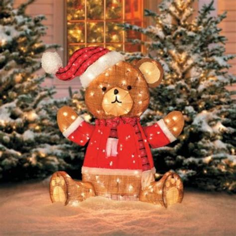 tis  season  pre lit teddy bear burlap country