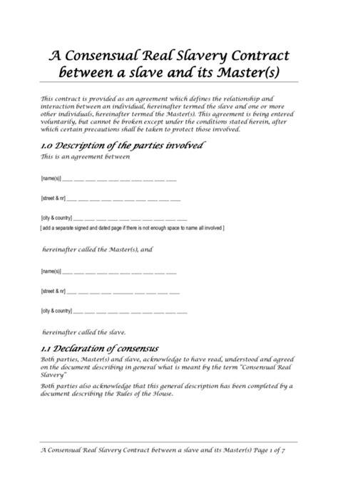 consensual real slavery contract   slave