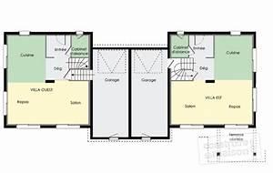 plan maison jumelee par le garage With plan maison mitoyenne par le garage