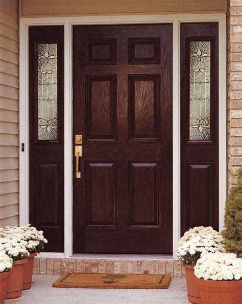 entry prehung  panel textured fiberglass door   sidelights