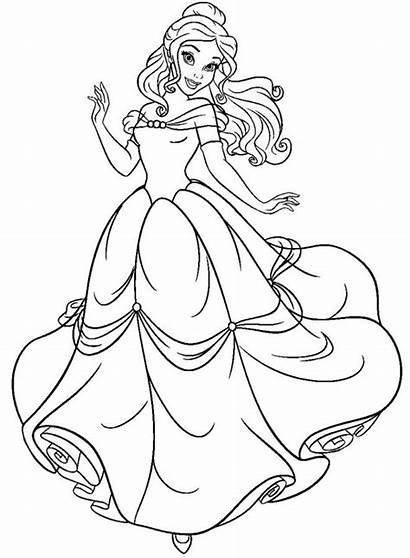 Coloring Princess Pages Disney Belle Beast Beauty