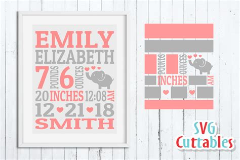 Celebrate your newborn baby with birth announcements that capture your bundle of joy in their best light. Baby Birth Announcement Template, SVG Cut File