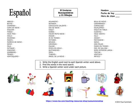 spanish winter word search puzzle  image ids