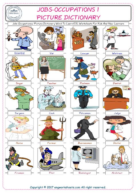 Jobsoccupations Picture Dictionary Word To Learn Esl Worksheets For Kids And New Learners