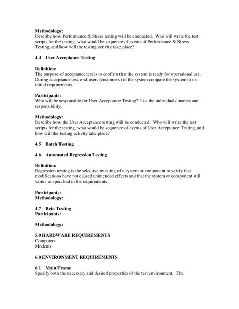 Performance Testing Test Plan Template by Sle Test Plan Template
