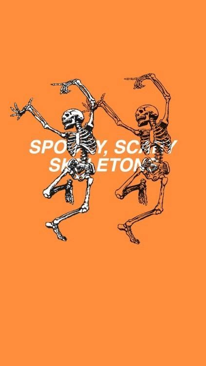 Aesthetic Simple Fall Iphone Wallpaper by Image Result For Orange Aesthetic Spooky Scary Skeletons