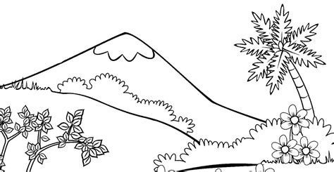 15 mewarnai gambar pemandangan gunung anak tk paud dan