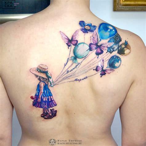 fantasy family tattoo   girl holding balloons