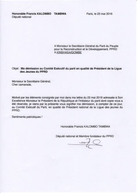 modele lettre demission suivi conjoint lettre de d 233 mission pour rapprochement de conjoint