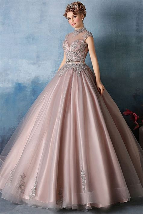 Vintage Tulle & Satin High Collar Ball Gown Prom Dresses ...