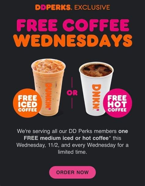 Dunkin' donuts has earned the no. Every Wednesday! FREE Iced or Hot Coffee at Dunkin' Donuts (Select States + DD Perks Accounts ...