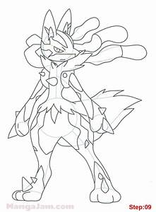 How to Draw Mega Lucario from Pokemon - Mangajam.com