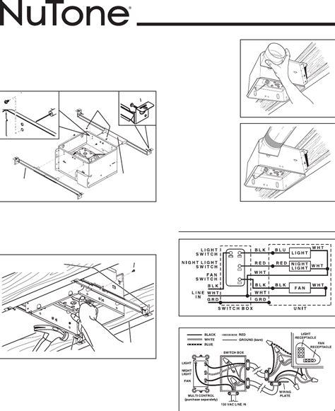 broan bathroom fan installation instructions nutone exhaust fan light wiring diagram nutone 763rln