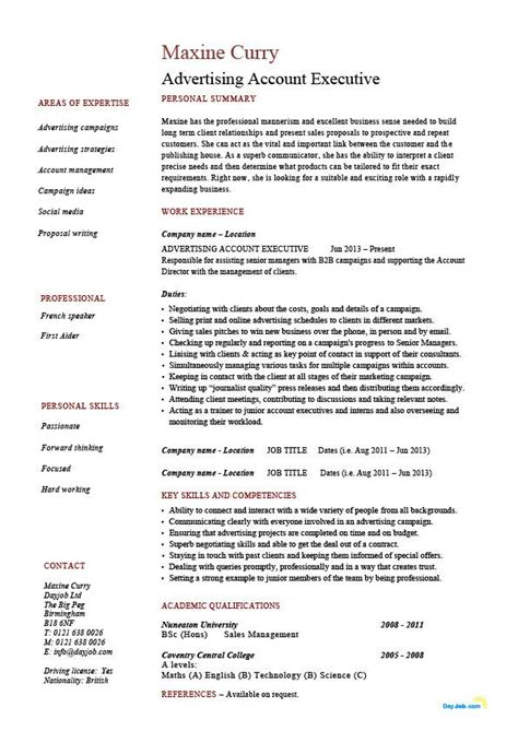 advertising account executive resume template exle