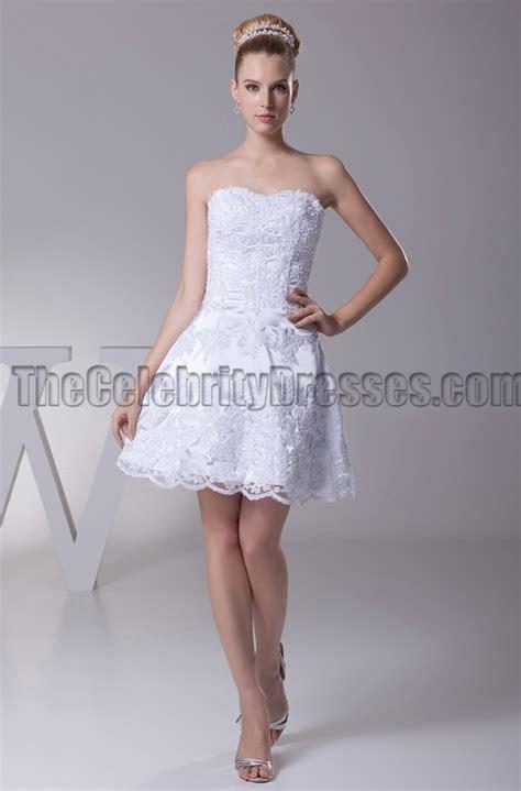 White Lace Strapless Party Cocktail Graduation Dresses