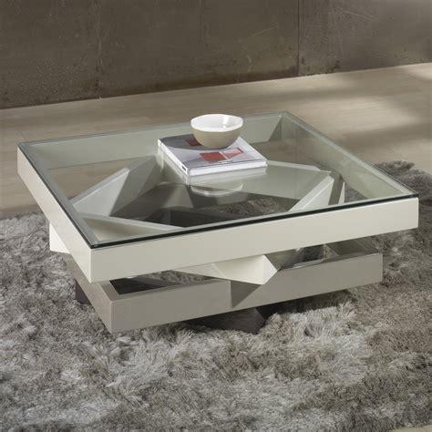 table basse carree bois  verre design en image