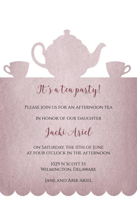 tea party invitation template   island