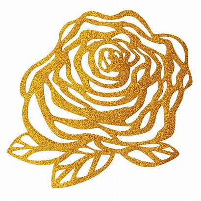 Gold Rose Glitter Stickers Iron Patches Craft