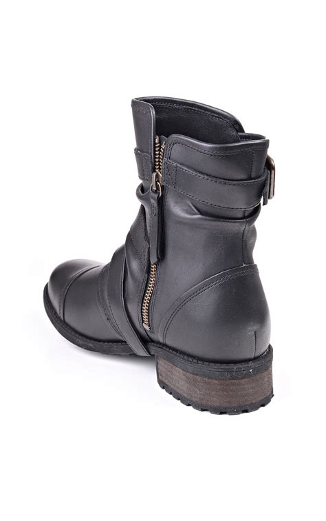 ladies short biker boots ugg australia finney black leather boots