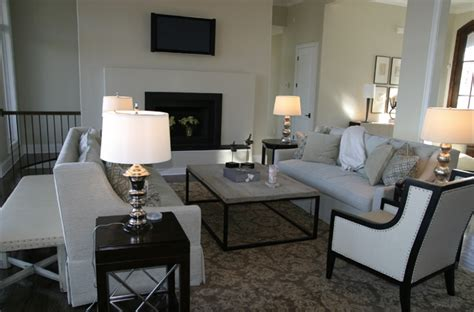 damask rug transitional living room fowler interiors