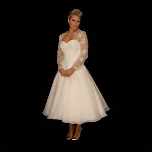Elizabeth tea length 1950s inspired wedding gown by for 1950s tea length wedding dress