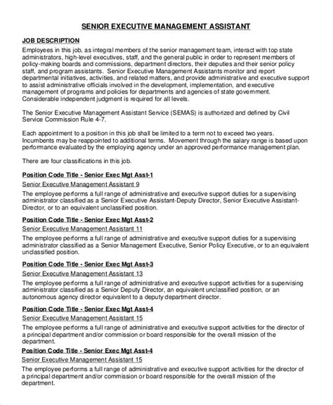 Monster is your source for jobs and career opportunities. FREE 8+ Sample Executive Assistant Job Description Templates in PDF | MS Word