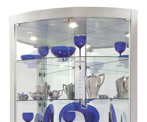 modern silver glass shelves interior lighting corner curio