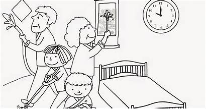 Cleaning Coloring Pages Child Together Chores Motivate