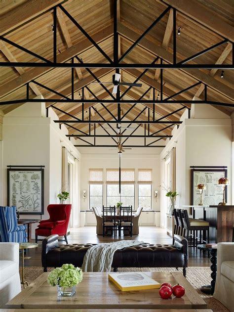 amazing high exposed ceilings  black metal  wood