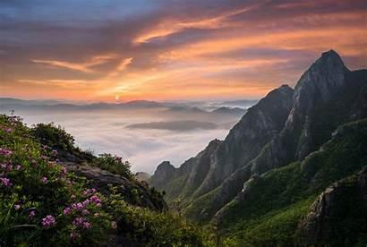 Korea Landscape South Mountains Nature Clouds Pink